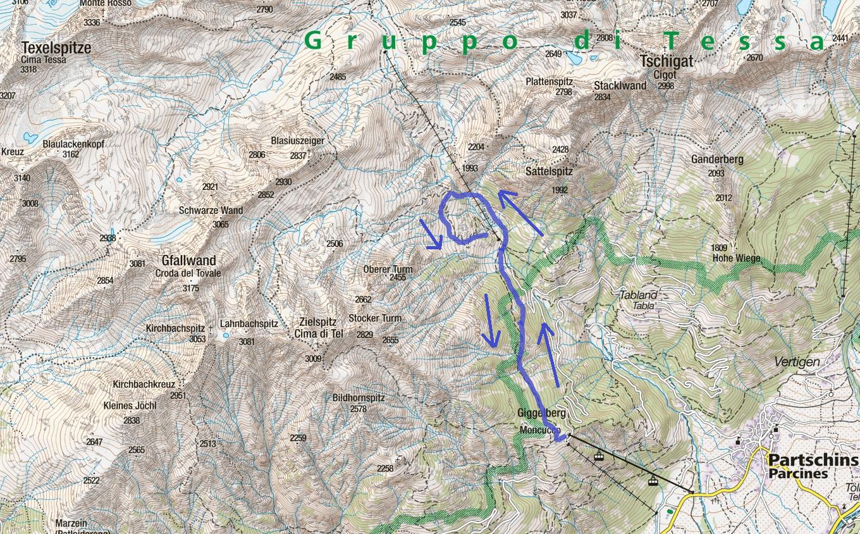 Cartina Ferrata Ziel Itinerario