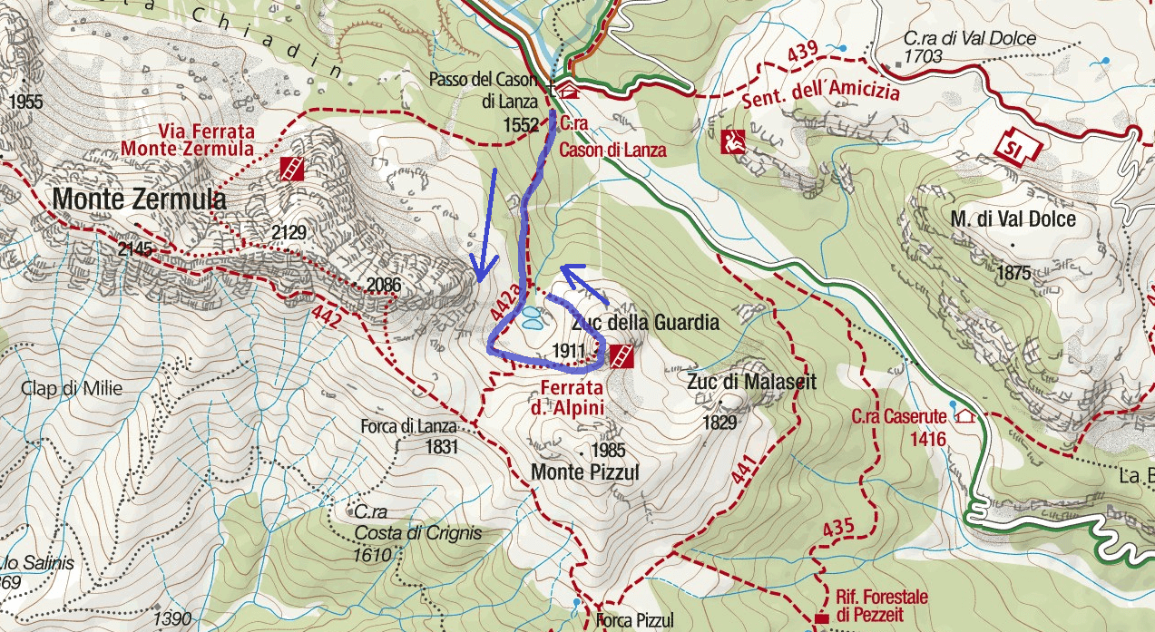 Zuc Guardia Ferrata Route Map