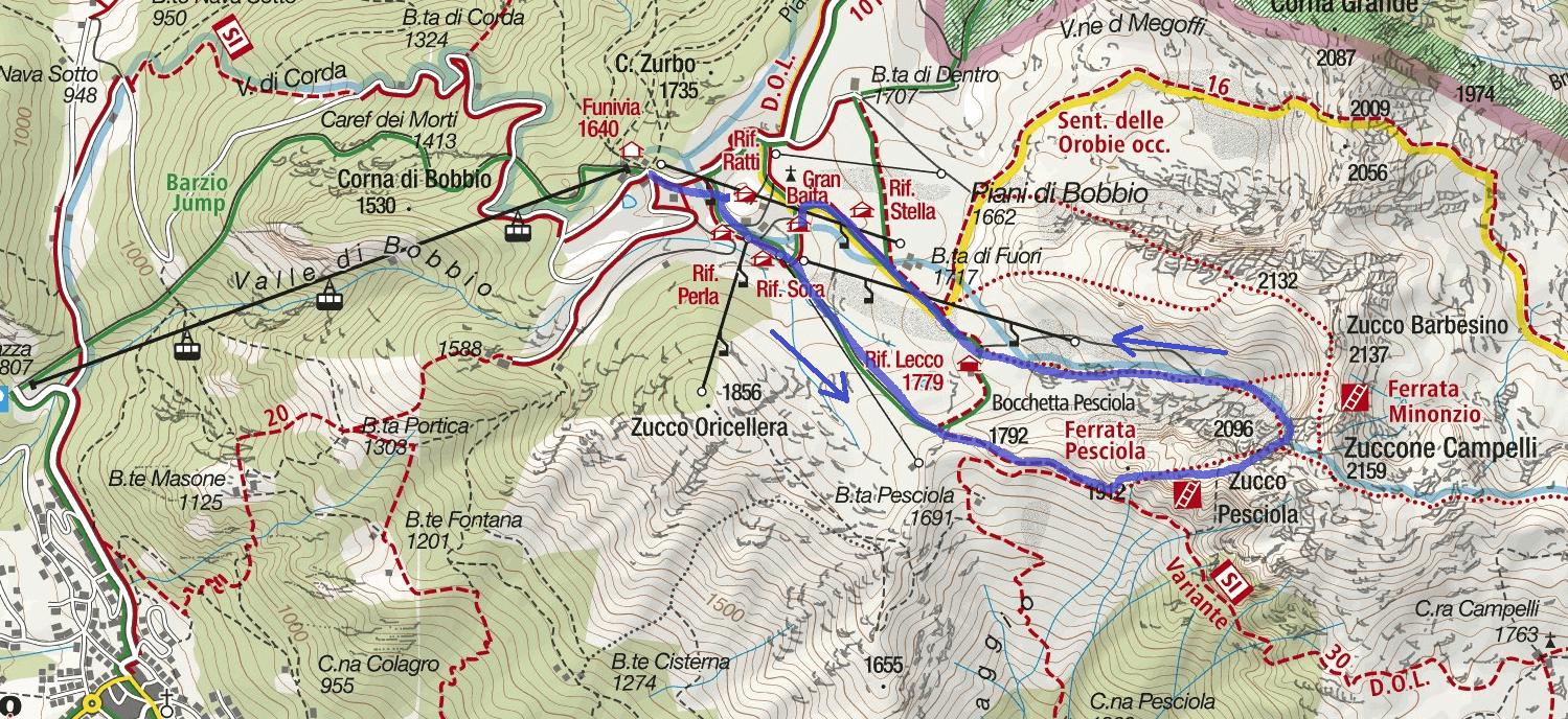 Cartina Ferrata Zucco Pesciola Itinerario
