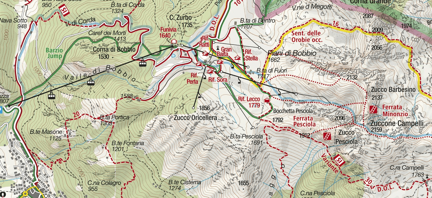 Pesciola Zucco Ferrata Map