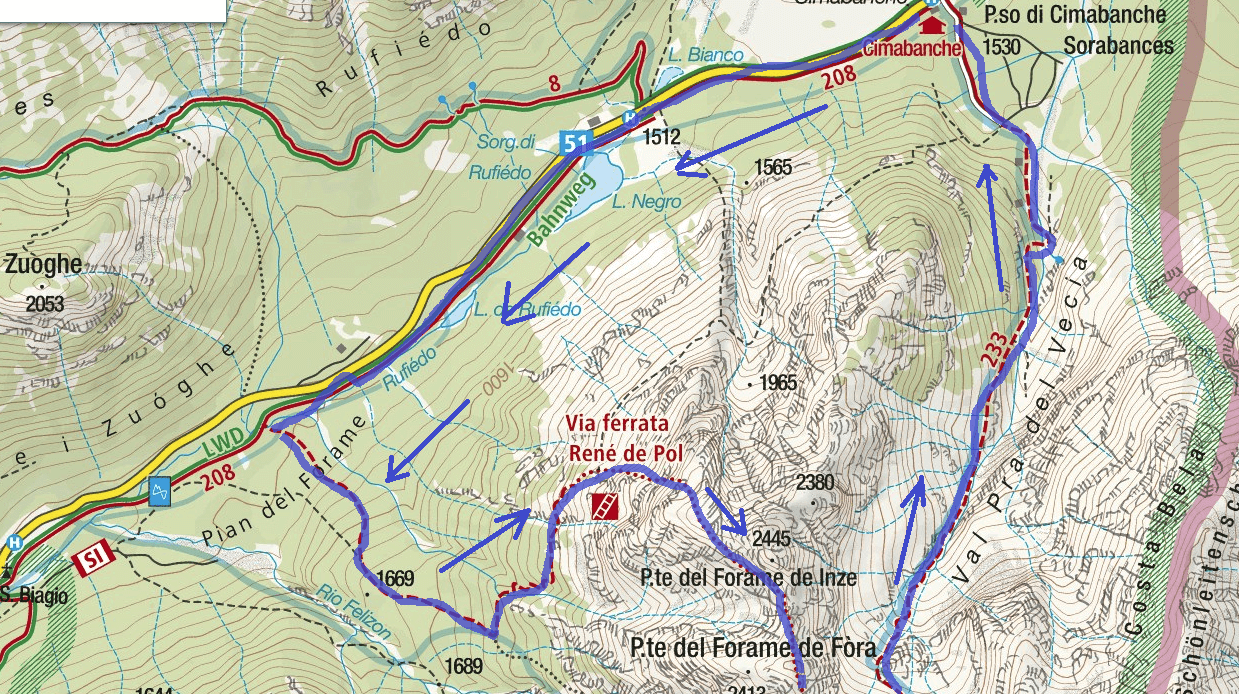 Map Ferrata de Pol Itinerary