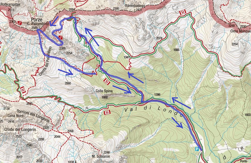 Cartina Ferrata del Camoscio al Palomino Itinerario