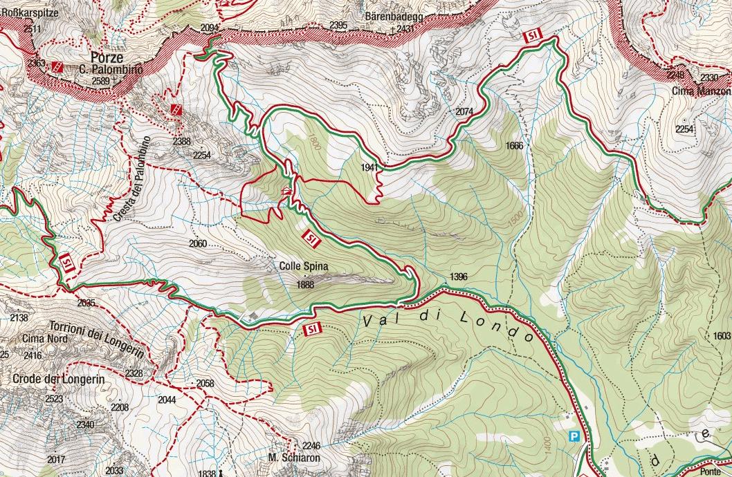 Camomia al Palomino Ferrata Map