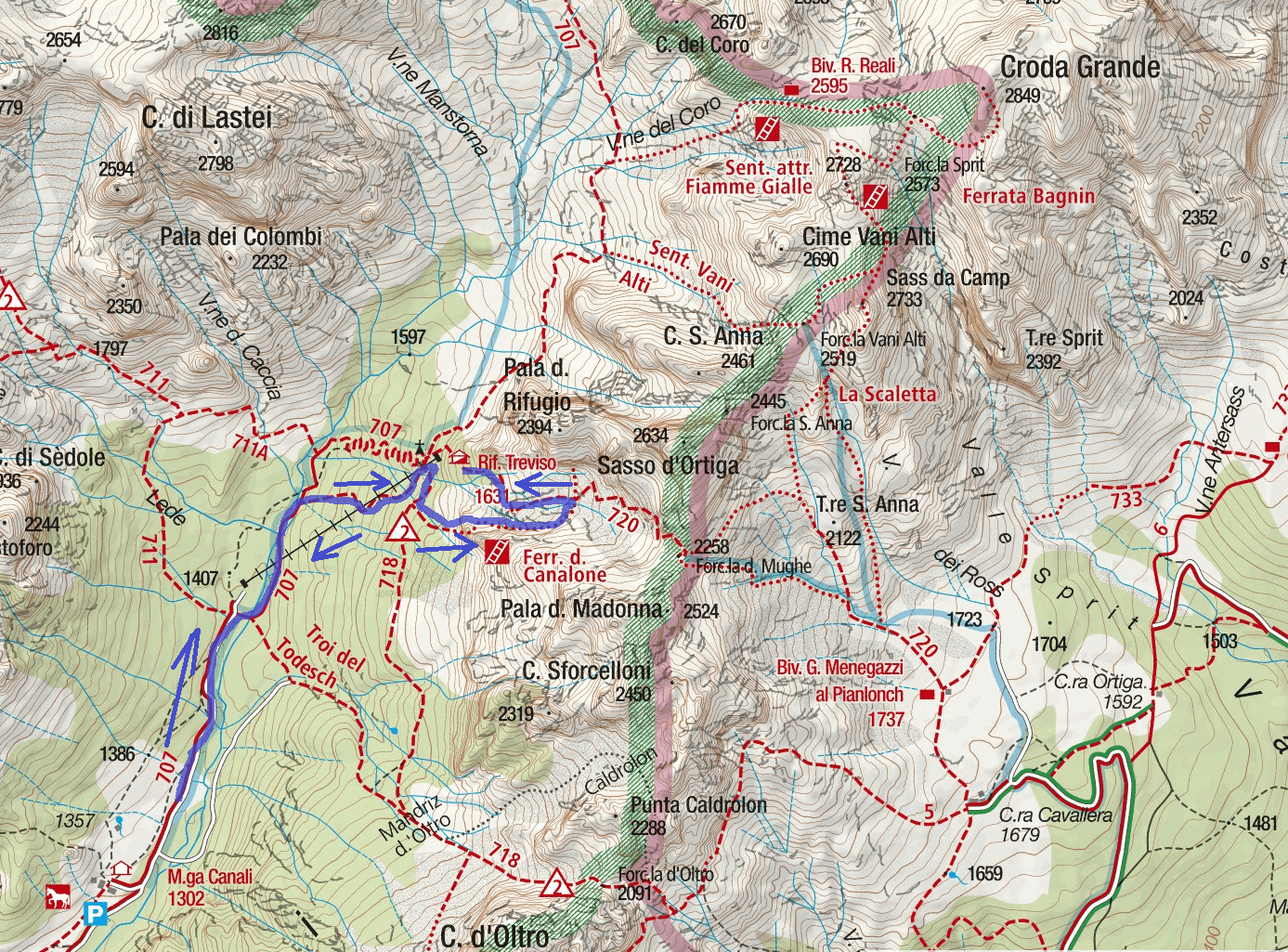 Ferrata map of the Canalone Itinerary