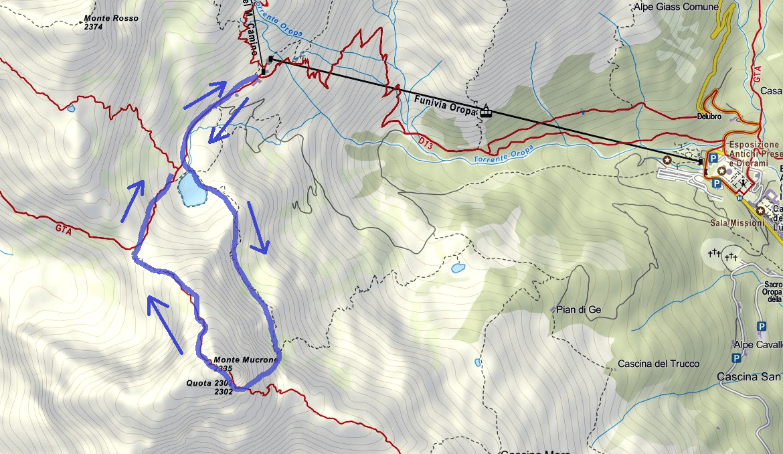 Ferrata Map of the Limbo Itinerary