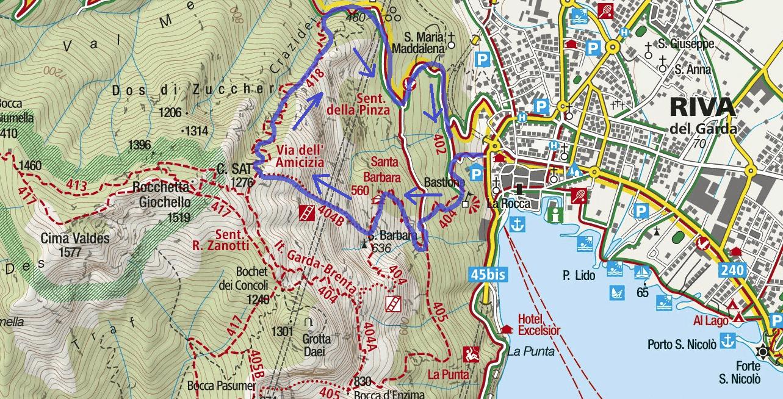 Ferrata Map of Friendship Cima Sat Itinerary 2