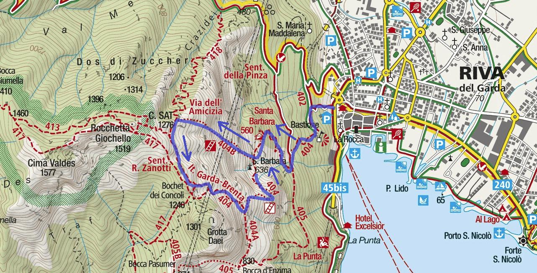 Cartina Ferrata dell'Amicizia Cima Sat Itinerario