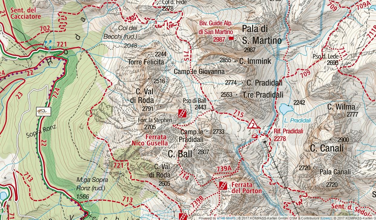 Cartina Ferrata della Vecia Dettaglio