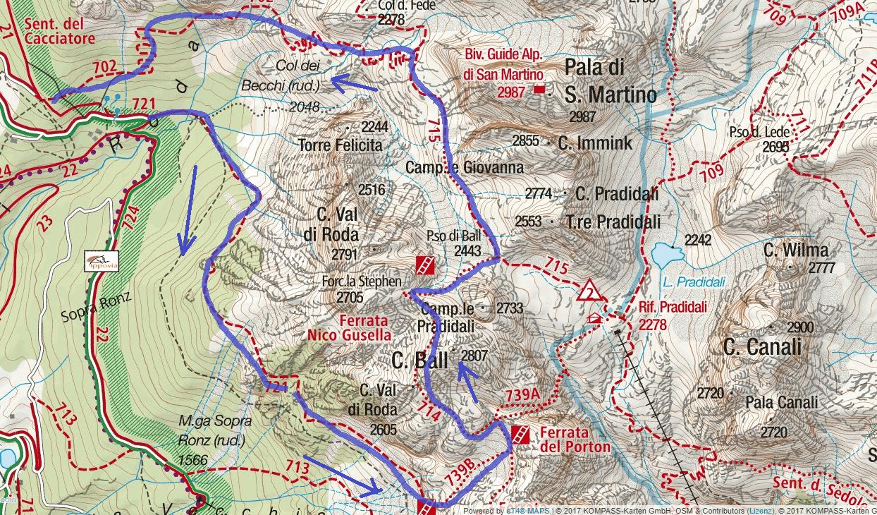 Ferrata map of Vecia Itinerary Detail