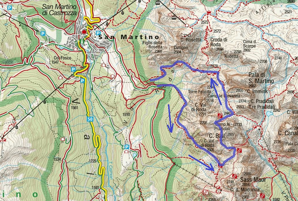 Ferrata map of Vecia Itinerary