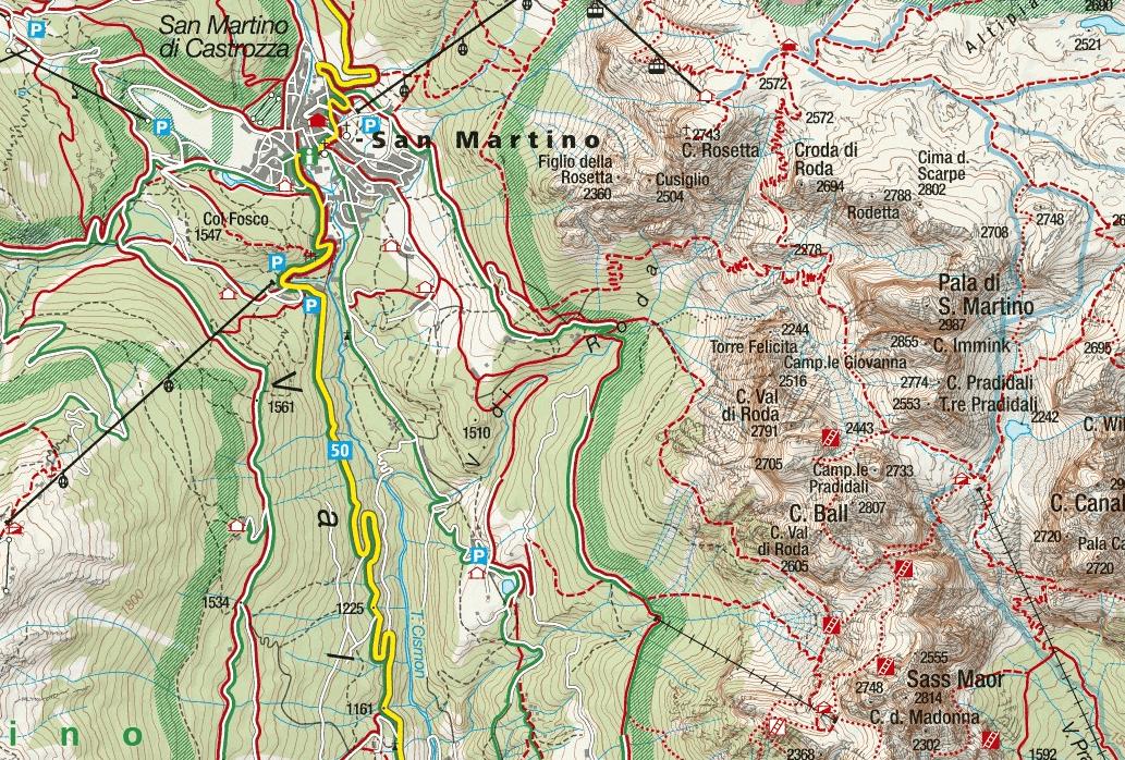 Ferrata map of Vecia