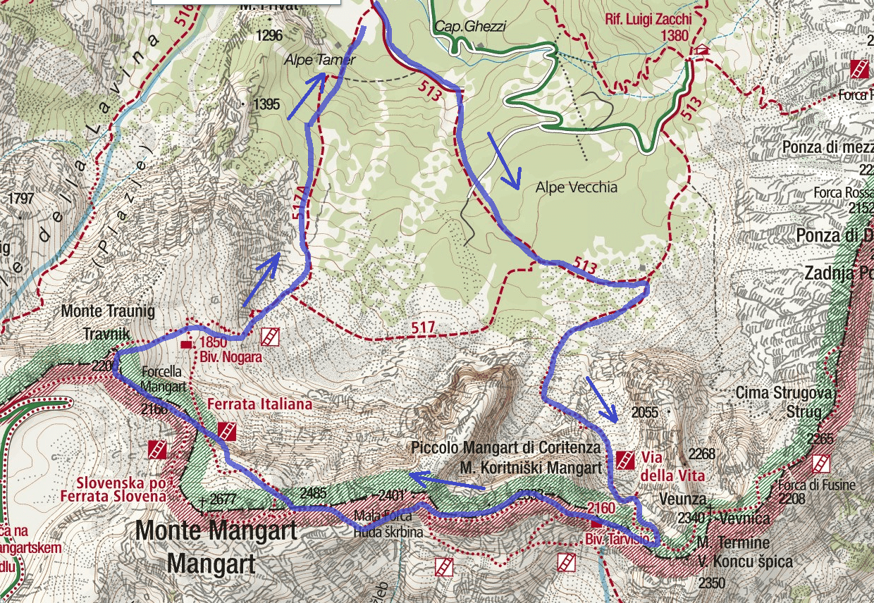 Mangart Life Ferrata Map Itinerary Detail 2