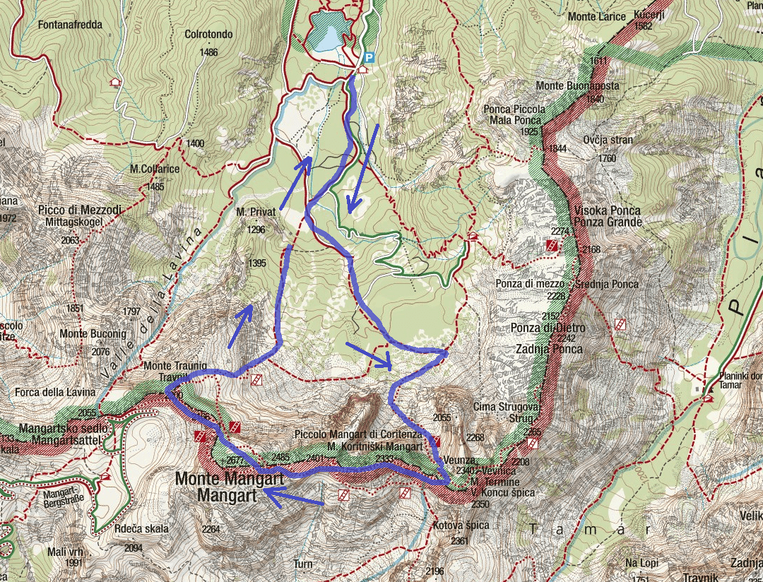 Ferrata map of Vita Mangart Itinerary