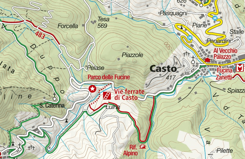 Ferrate Fucine Casto Map