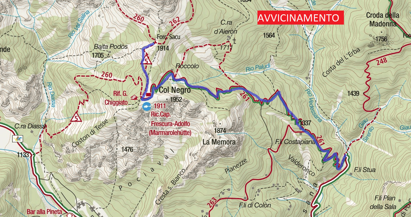 Alpine Path Jau Tana Approach Map Detail Approach