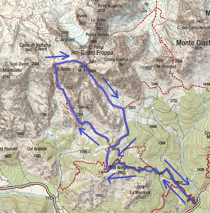 Map of the Aided Path Alpini Jau Tana Itinerary