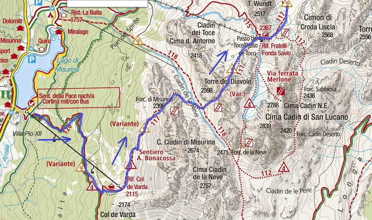 Map of Bonacossa Aided Route Itinerary Detail 1