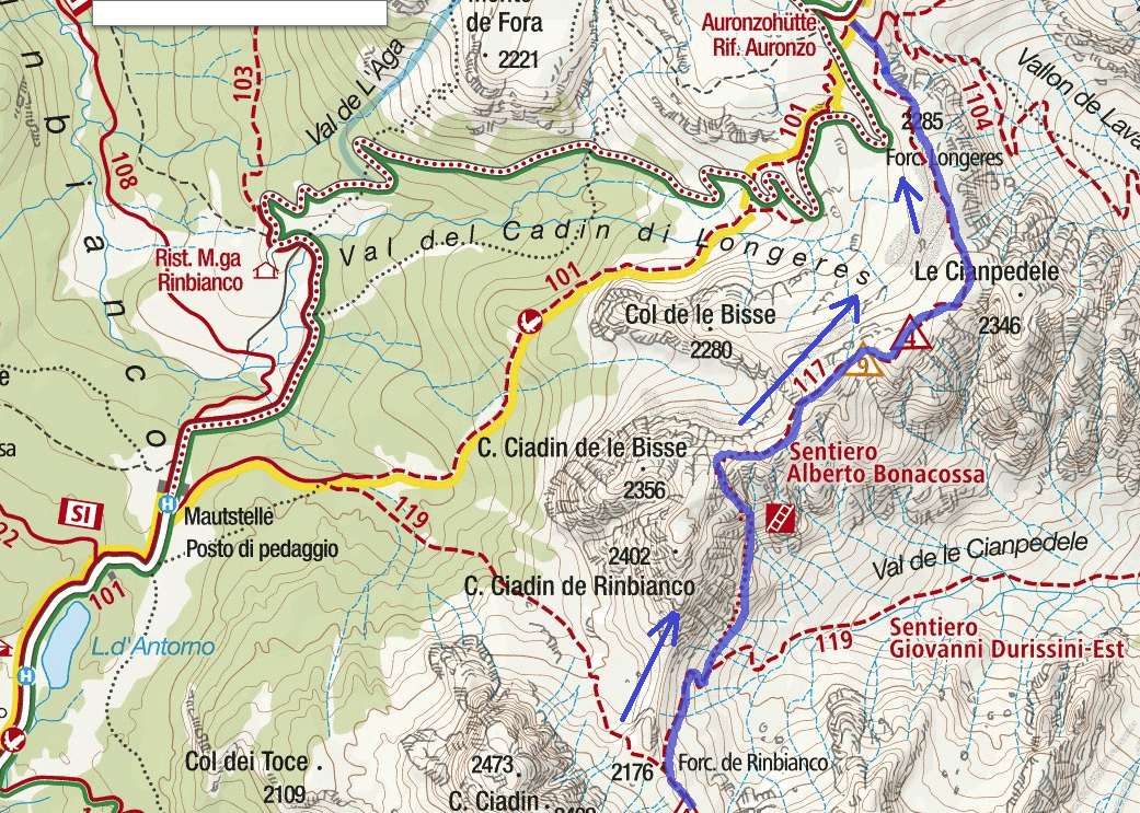 Map of the Aided Path Bonacossa Itinerary Detail 2
