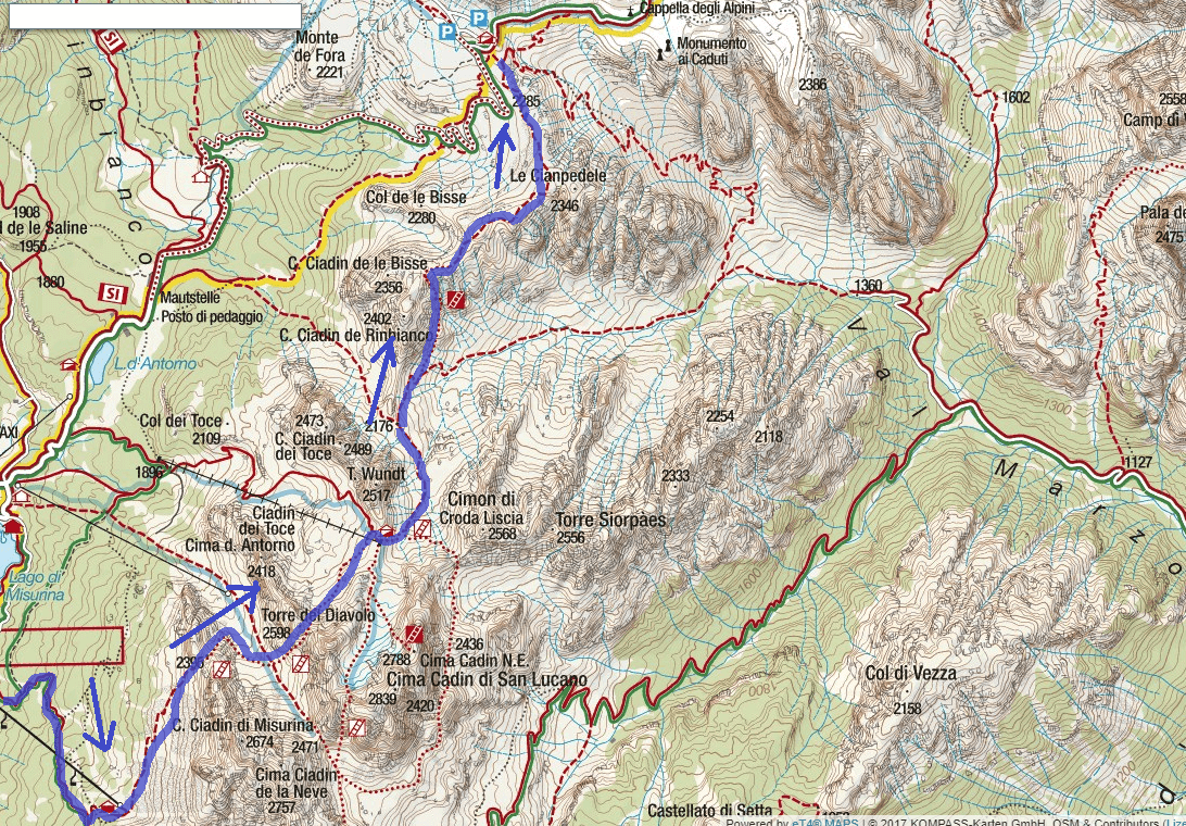 Map of the aided path Bonacossa Itinerary