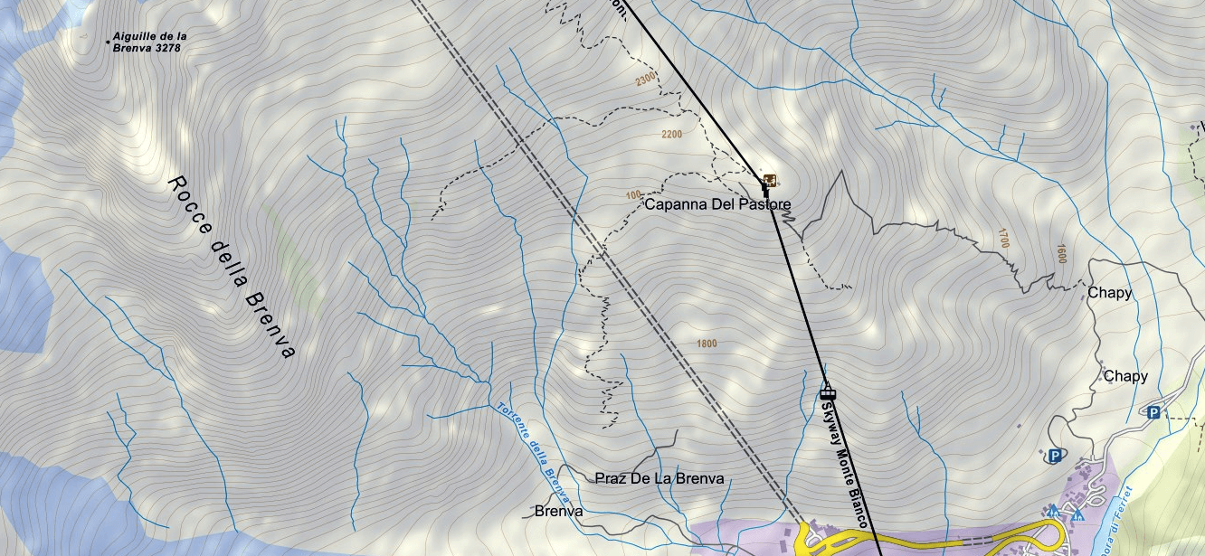 Brenva Aided Path Map