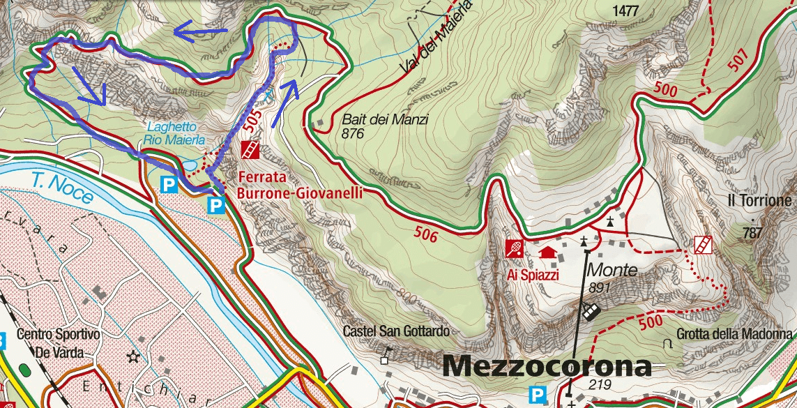 Burrone Giovanelli Itinerary Trail Map