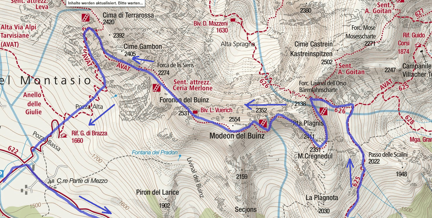 Map of the aided path Ceria Merlone Detail of the route