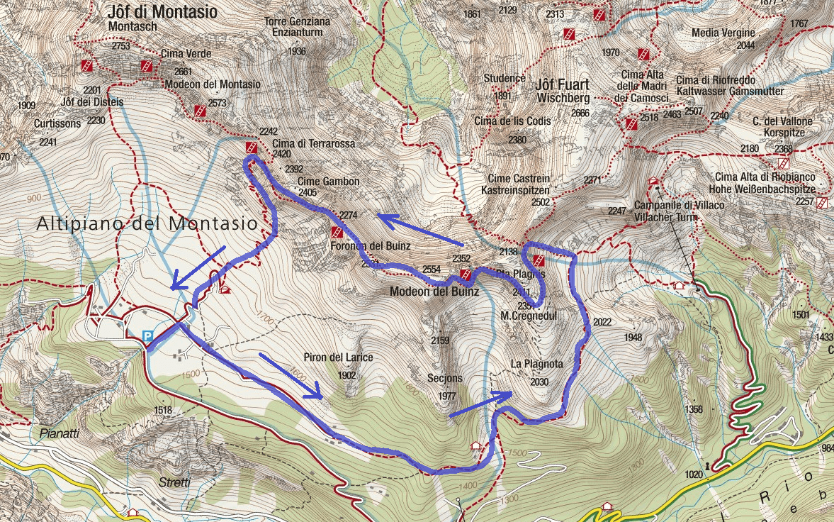 Map of the aided path Ceria Merlone Itinerary