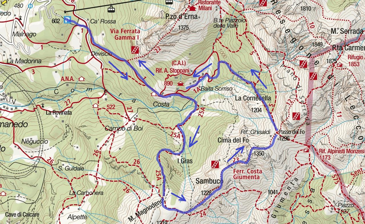 Cresta Giumenta aided path map