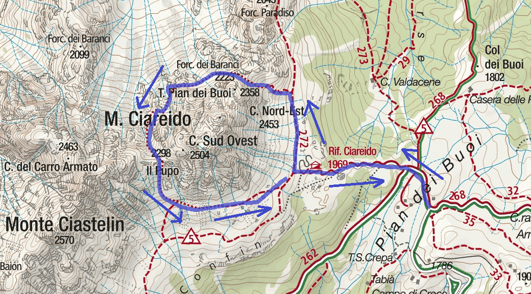 Aided path map from Pra Ciareido