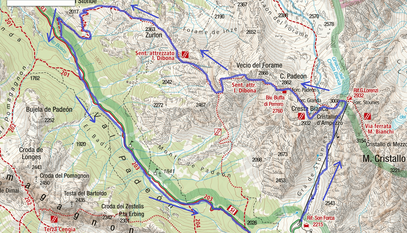 Dibona Route 1 Itinerary Map