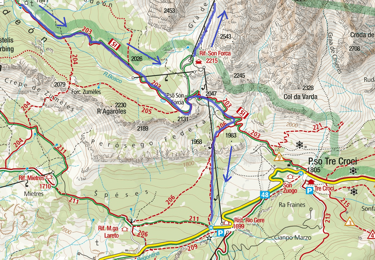 Dibona Route 2 Itinerary Map