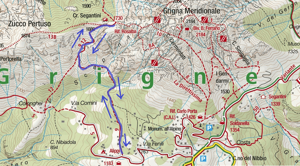 Map of the South-East Directed Path Grigna Route