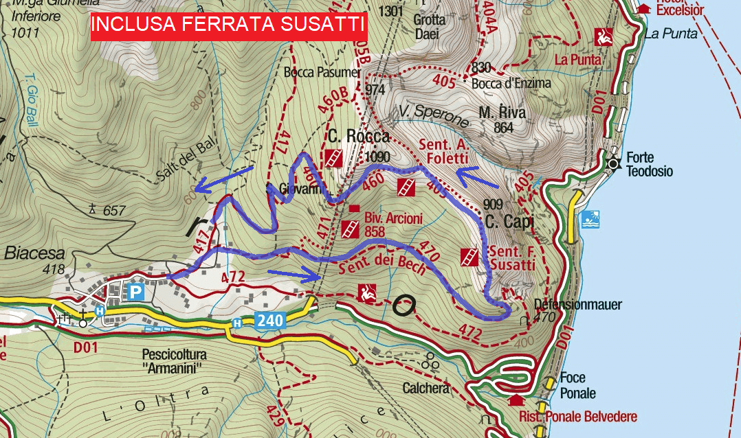 Map of the Foletti Aided Route 1