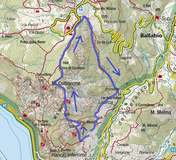 GER Aided Route Map Route with Medata Ferrata