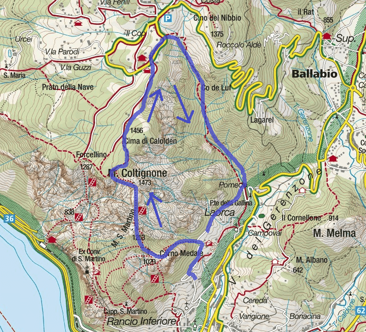 Map GER Aided path Itinerary with Medal Aided path