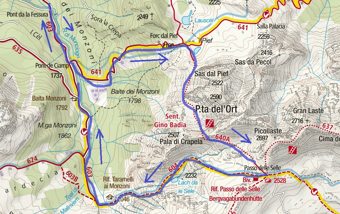 Gino Badia Aided Path Map Itinerary Detail