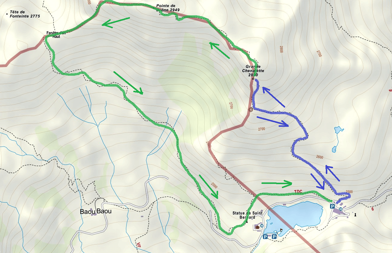 Route Map Aided Gran Chenalette Itinerary