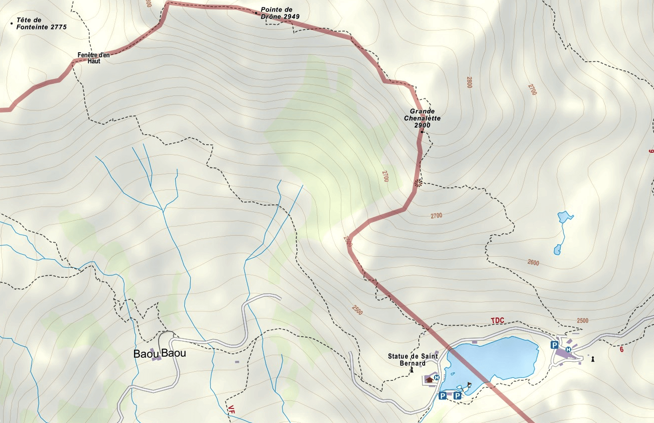 Gran Chenalette Aided Path Map
