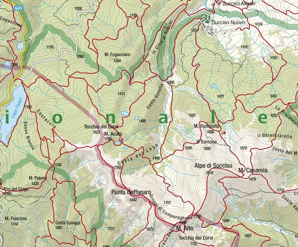 Map Aided Path Groppi Camporaghena Monte Alto