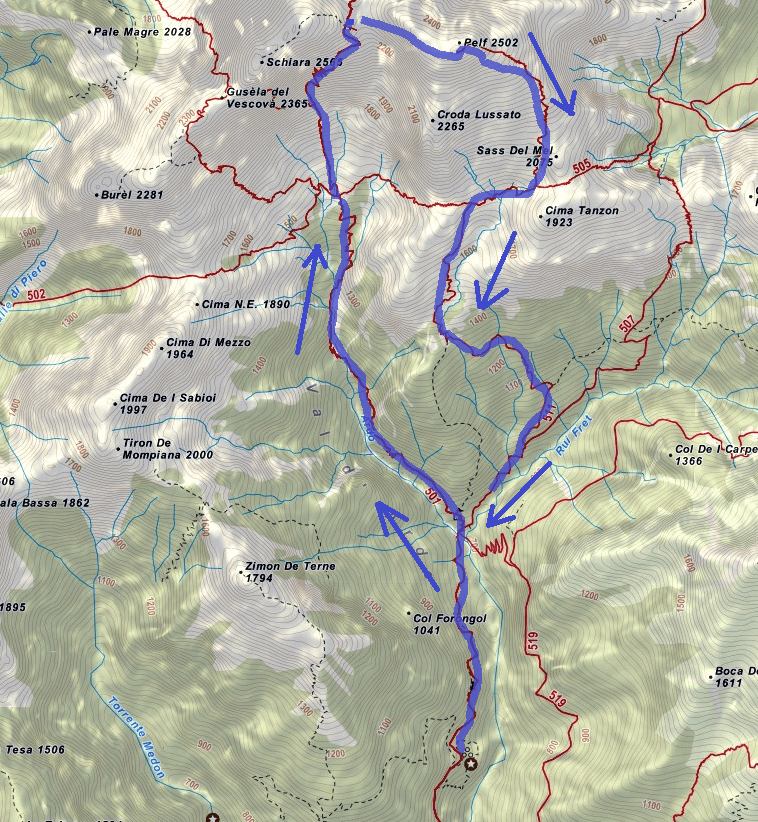Map of the aided path Guardiano Pelf Itinerary