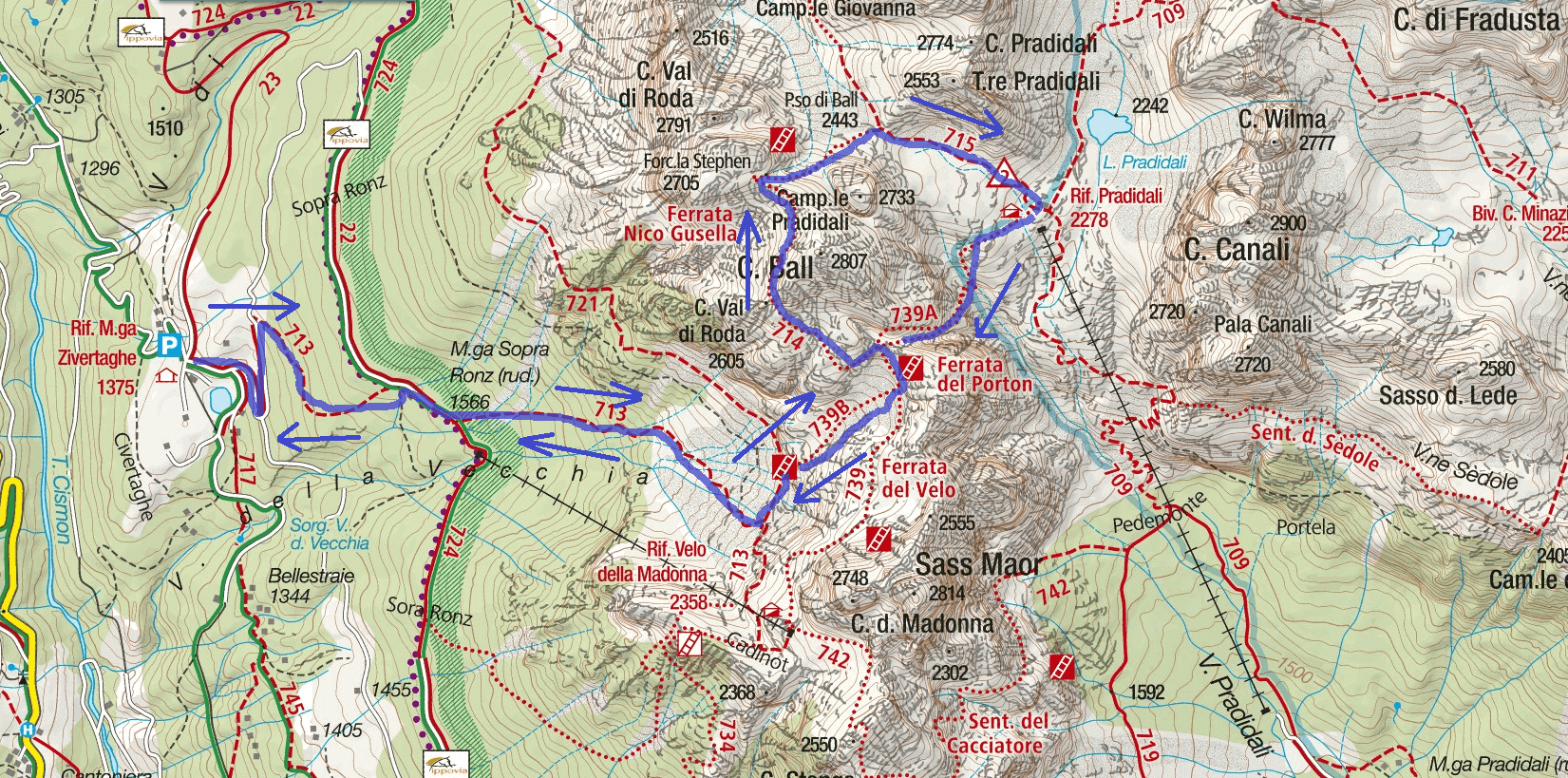 Gusella Aided Route Itinerary Map