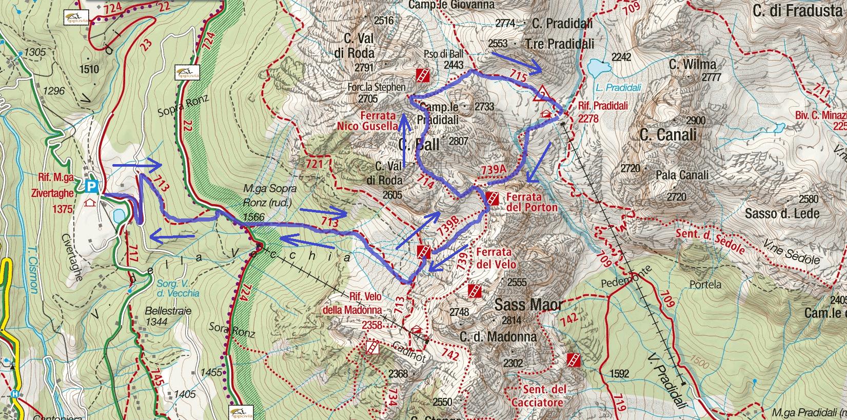 Cartina Sentiero Attrezzato Gusella Itinerario