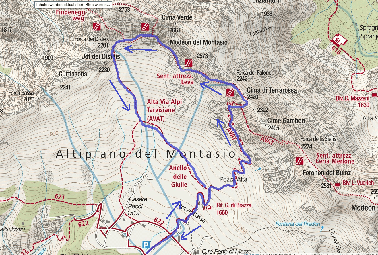 Map of the Leva Terrarossa Itinerary Itinerary