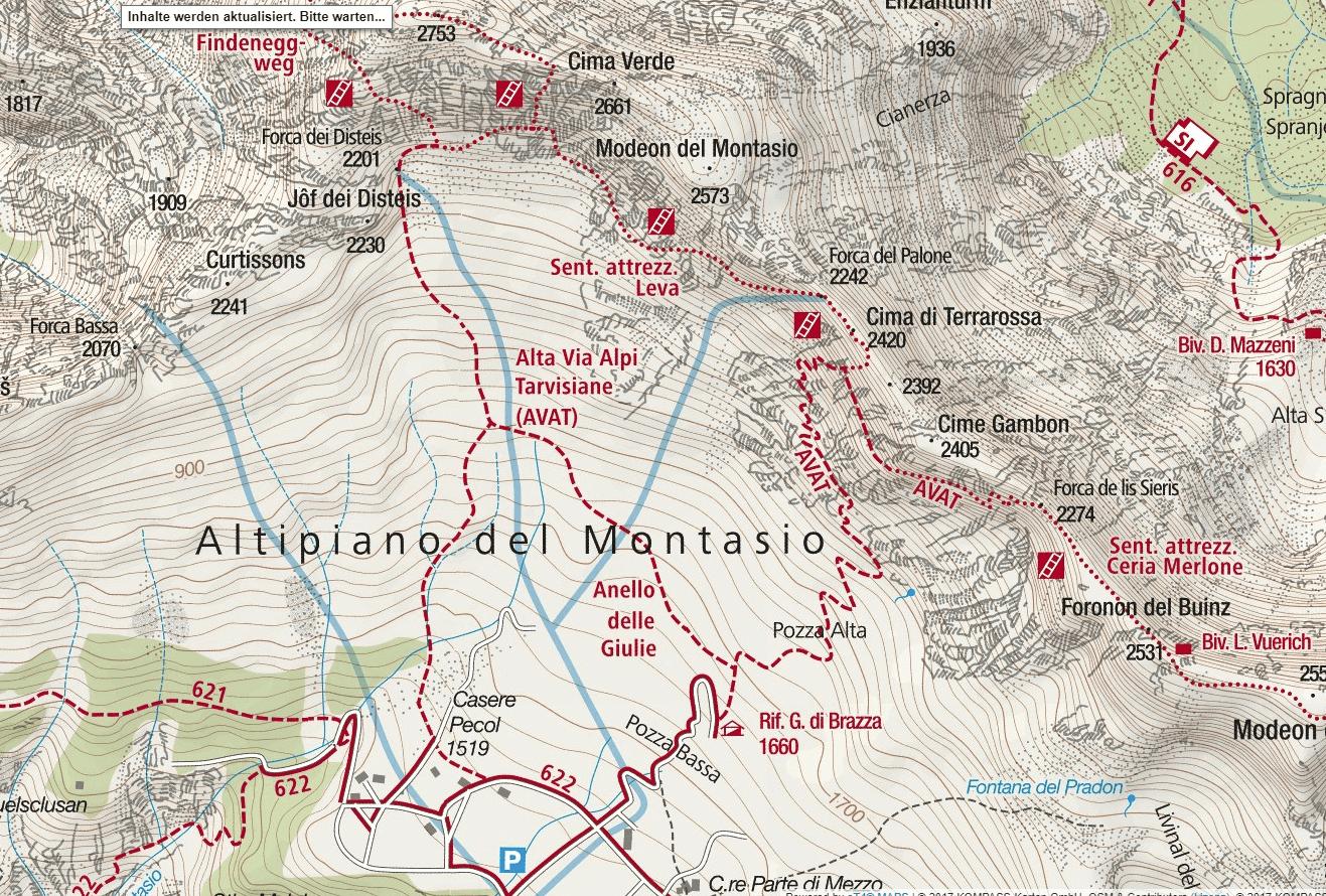 Cartina Sentiero Attrezzato Leva Terrarossa