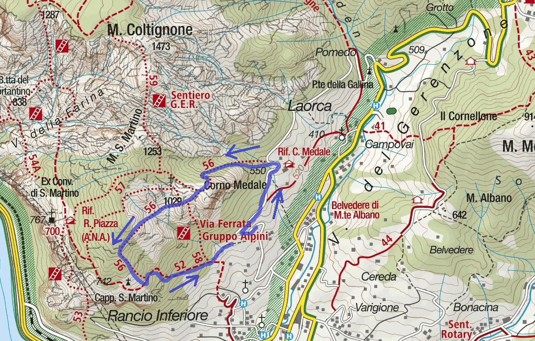 Cartina Sentiero Attrezzato Medale Itinerario