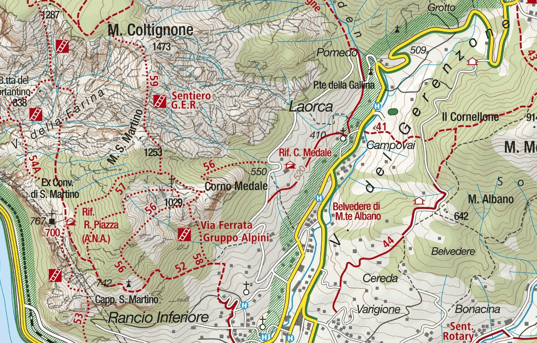 Cartina Sentiero Attrezzato Medale
