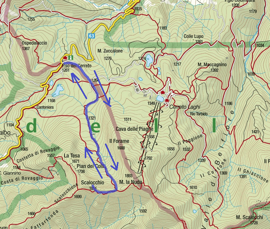 Map of the aided path Monte Gendarme Itinerary