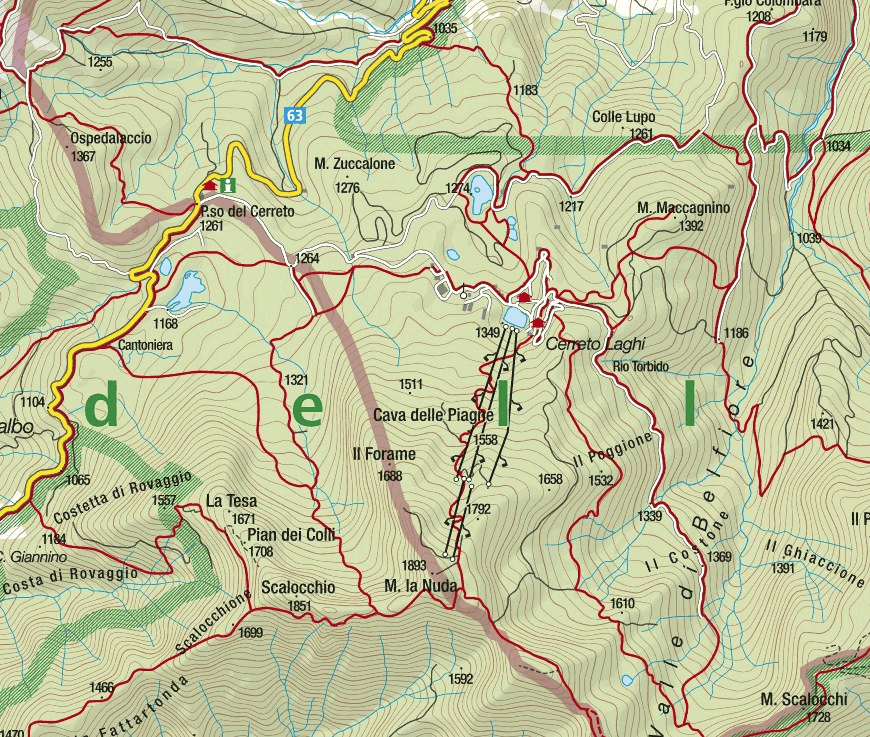 Monte Gendarme Aided Path Map
