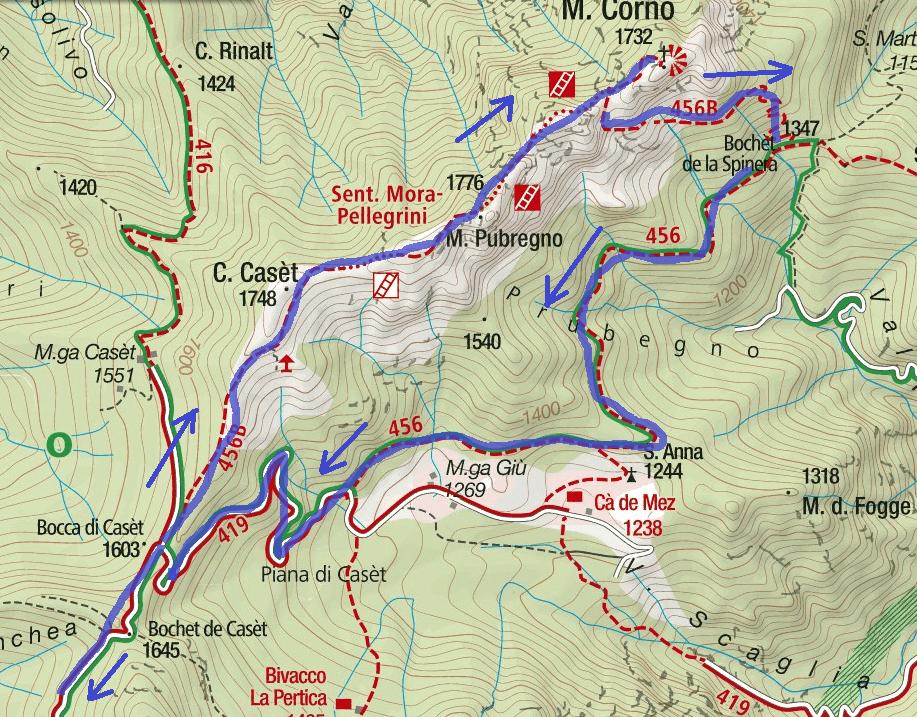 Cartina Sentiero Attrezzato Mora Pellegrini Itinerario Dettaglio 2