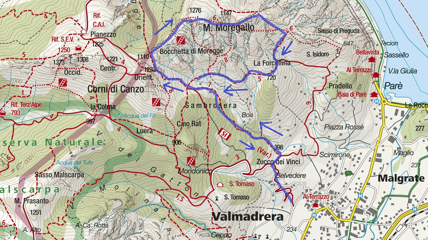 Map of the Aided Path Moregallo Itinerary